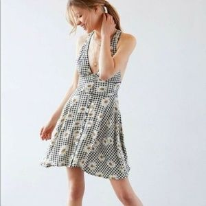 Cooperative Gingham Daisy Plunge Neck Swing Dress